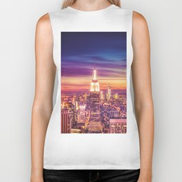 New York City Dusk Sunset Biker Tank