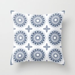 Blue ornament on a white background. Throw Pillow