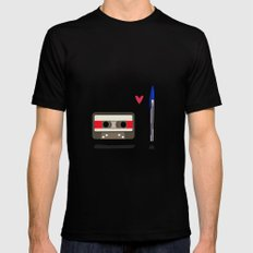 Love: cassette and pen Black Mens Fitted Tee LARGE