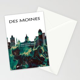 Des Moines Skyline Stationery Cards
