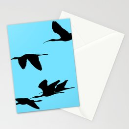 Silhouette of Glossy Ibises In Flight Stationery Cards