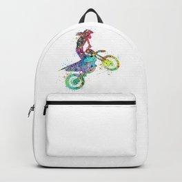 Girl Motocross Colorful Watercolor Moto Bike Supercross Art Backpack
