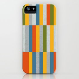 Orange, Green, Blue, Gray / Grey Stripes, Nautical Maritime iPhone Case