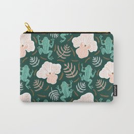 Tree Frog and Fern Floral Carry-All Pouch