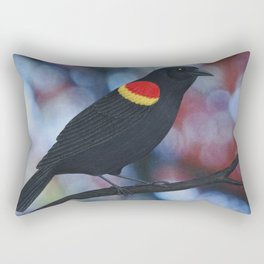 red winged blackbird male bokeh Rectangular Pillow