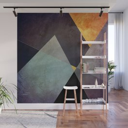 Purple Yellow Geometric Abstract Wall Mural