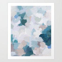 Turquoise Navy Blue Blush Pink Gray White Abstract Painting, Modern Wall Art, Digital Print Art Print