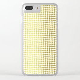 Gold Foil & Bright White Houndstooth Check Pattern Clear iPhone Case