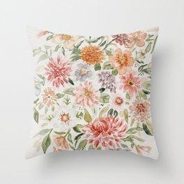 Loose Pastel Dahlia Watercolor Bouquet Throw Pillow