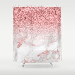 Rose-gold faux glitter and marble ombre Shower Curtain