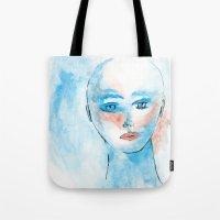 sylvia plath Tote Bags featuring Sylvia  by Antonio Ayres