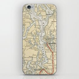 Vintage Map of The Puget Sound (1909) iPhone Skin