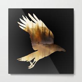 Crow Mystic River - II - dark background Metal Print