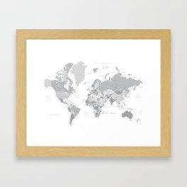 """Gray world map with cities, states and capitals, """"in the city"""" Framed Art Print"""