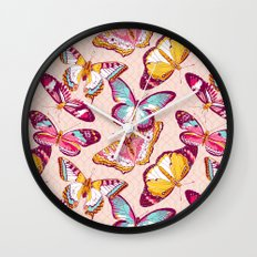 Aflutter in Blush Wall Clock