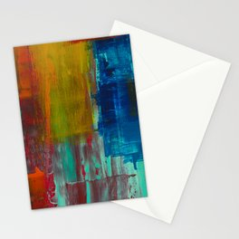 RED YELLOW BLUE AND WHITE ABSTRACT PAINTING Stationery Cards