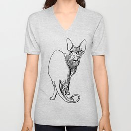 Sphynx Cat Illustration - Sphynx - Cat Drawing - Naked Cat - Wrinkly Cat - Black and White Unisex V-Neck