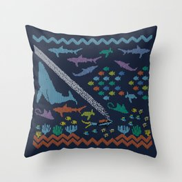 Scuba diving – Knitted ecosystem Throw Pillow