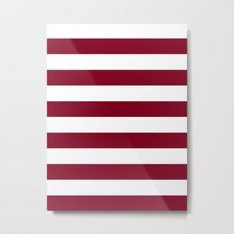 Horizontal Stripes - White and Burgundy Red Metal Print