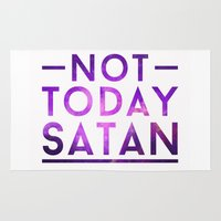 satan Area & Throw Rugs featuring NOT TODAY SATAN by GLAMAZON
