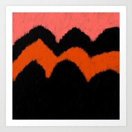 Geometrical black living coral orange brushstrokes Art Print