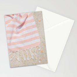Pink Stripe Beach Towel Stationery Cards