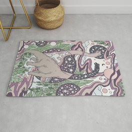 Jurassic Portal | Purple Haze Palette | Dinosaur Science Fiction Art Rug