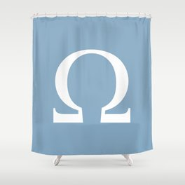 Greek letter Omega sign on placid blue background Shower Curtain