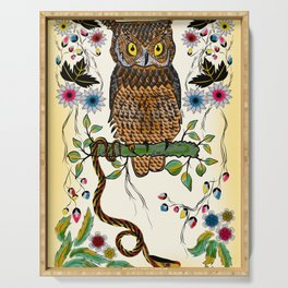 Vibrant Jungle Owl and Snake Serving Tray