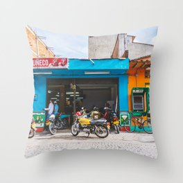 On the Street, Guatape, Colombia Throw Pillow