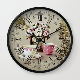 013 Wall Clock Cups and Flowers Wall Clock