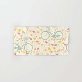 Seamless Pattern Of Flowers & Bicycles Hand & Bath Towel