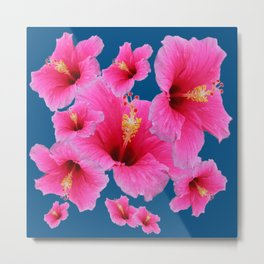 TEAL MODERN ART GIRLY PINK HIBISCUS Metal Print