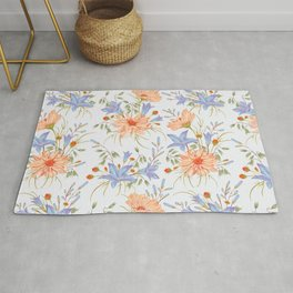 Watercolor Orange Chamomile Flower Blooms & Bluebell Blooms on White Rug