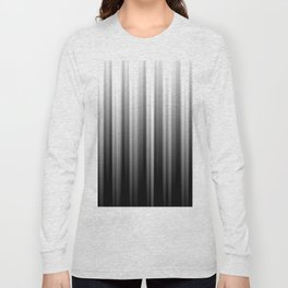 Black And White Soft Blurred Vertical Lines - Ombre Abstract Blurred Design Long Sleeve T-shirt