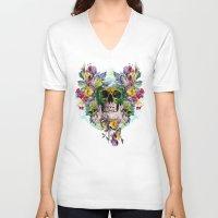skulls V-neck T-shirts featuring SKULLS by RIZA PEKER