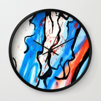 american beauty Wall Clocks featuring American by LA_Graffiti Decor