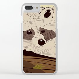Raccoon on tree Clear iPhone Case
