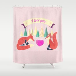 Valentine's Day Foxes in Love Shower Curtain