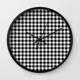 Original Milkweed White and Black Rustic Cowboy Cabin Buffalo Check Wall Clock
