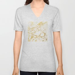 Ivory White Marble With Gold Glitter Ribboned Veins Unisex V-Neck