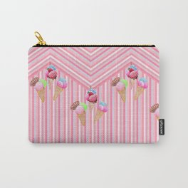 Ice cream stripes , pink, mint and aqua Carry-All Pouch