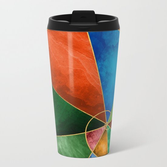 Golden Spiral Metal Travel Mug