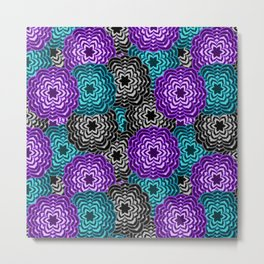 Dahlia Multicolored Floral Abstract Pattern Metal Print