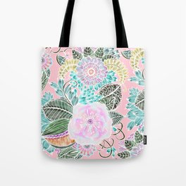 Blush pink lavender green white watercolor hand painted flowers Tote Bag