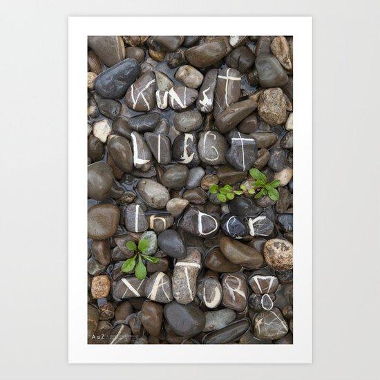 Echte Stein Schrift auf Bachbett Art Print