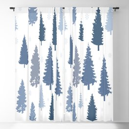 Pines and snowflakes pattern Blackout Curtain