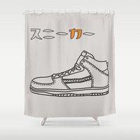 sneaker Shower Curtains featuring Sneaker by YTRKMR