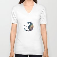 space cat V-neck T-shirts featuring Space Cat by Kit & Cat