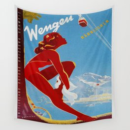 Wengen Switzerland - Vintage Travel Wall Tapestry